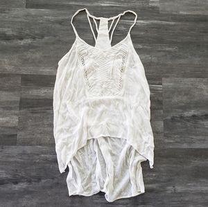 White High Low Bohemian Asymmetrical Blouse